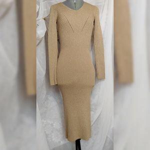 Michael Kors Gold Glitter Bodycon Dress Size XXS